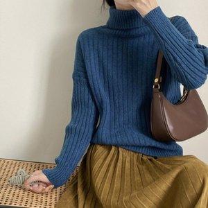 Yeeloca Kış Yüksek Yaka Knirtted Triko Bayan Casual Katı Renk Kazaklar Kore Gevşek Sıcak Alt Triko