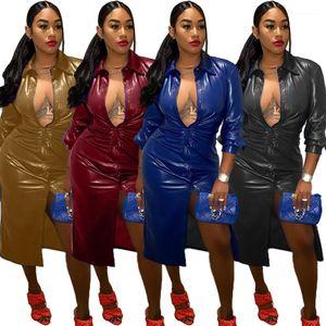 PU Jacket Solid Color Fashion Casual Female Clothing Womens Designer Long Windbreaker V Neck Mesh Splicing