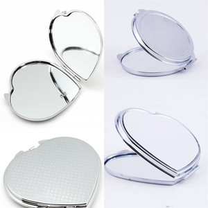 Sublimation Blank Make Up Mirrors 2-Face DIY Cosmetic Round Shaped Exquisite Gift Iron Plated Compact Mirror Girl High Quality 3 2xm M2