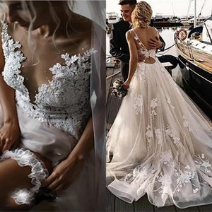 Bead Garden Wedding Dress Sheer Lace Neck 3D Floral Appiques Tulle A Line Bridal Gowns Sweep Train Vestidos De Novia