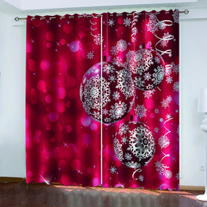 Luxury Blackout 3D Window Curtains For Living Room Bedroom red christmas curtains Decoration curtains