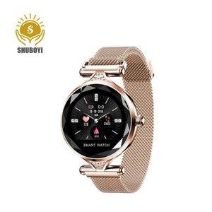 2020 Pantalla completa Redonda H1 Smart Watch con ritmo cardíaco a prueba de agua Banda femenina Android