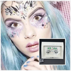 47 styles 3D Crystal Glitter Jewels Tattoo Sticker Women Fashion Face Body Gems Gypsy Festival Adornment Party Makeup Beauty Stickers