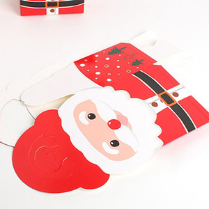 10 20pcs Cute Santa Pattern Apples Packaging Box Christmas Party Paper Favour Gift Cupcake Carrier Box HKS99