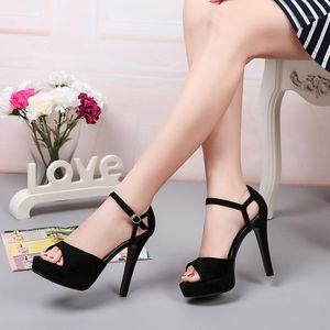Zapatos de tacones altos 2021 New Spring Summer Peep Toe Toe Toels Sandalias Mujeres Sexy Hebilla Correa Party Shoes Plus Tamaño 34-401