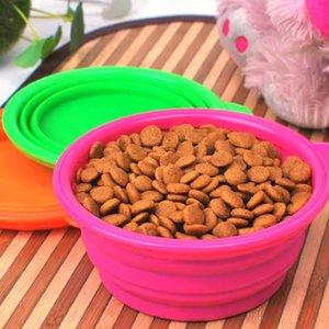 لطيفة قابلة للطي سيليكون الكلب وعاء لون الحلوى السفر في الهواء الطلق المحمولة جرو doogie الغذاء الحاويات المغذية صحن FWF3422