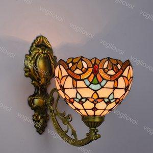 Lâmpadas de parede Girassol Europeu Europeu Retro Multicolor Vidro Barroco Mirror Lamp E27 para viver sala de jantar Bar Bar Club Hall Aisle Balcony DHL