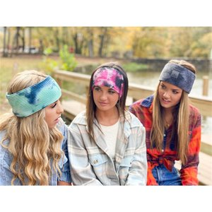 Women Tie Dye Headband Knitting Woolen Headbands Ponytail Holder Hair Bands Gradient Crochet Headwraps Girls Turban Wide Headwear F112706