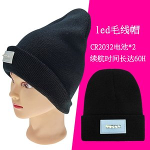 LED headlamp knitted with battery light toggle switch flanging wool thermal lighting cap