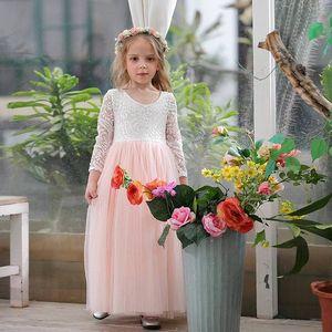 Wholesale Girl Princess Dress Ankle Length Wedding Party Dress Eyelash Back White Lace Beach Dress Children Clothing E15177 F1202