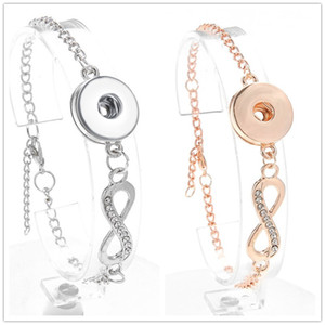 Noosa Snap Bracelet Jewelry Rhinestone Infinity Ginger Snap Buttons Chunk Charm Wristband fit DIY 18mm Snaps Jewelry