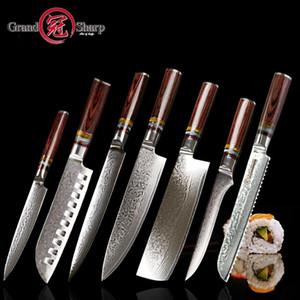 Grandsharp 7 PCs Damaskusmesser Set VG10 Japaner Damaskus Stahl Küchenmesser Full Chefs Set Best Familiengeschenk Kochwerkzeuge