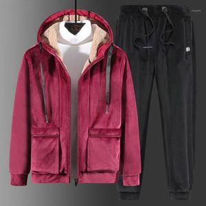 Super Warm Tracksuits Winter Men Set Velvet Thick Two Pieces Set 2020 Winter Fleece Mens Track Suit Jacket+Pants Father's Gift1