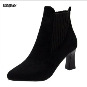 BONJEAN High heels for women autumn and winter wool elastic thin boots for women ankle boots single 2020