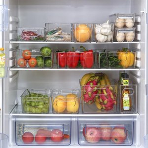 Réfrigérateur Organisateur Bins empilables Organisateurs Réfrigérateur Boîte de rangement avec poignées pour congélateur Armoires Cutout FP8