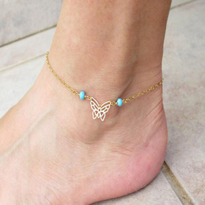 Fashionable Metal Butterfly Turquoise Beaded Anklet Fashion Trending Foot Chain