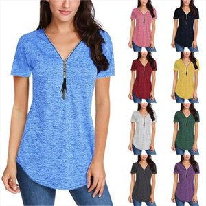 Spring Summer Solid Color Short sleeved Womens V neck T shirt with Zipper Casual Blusas Tshirt Female Plus Size S 5XL