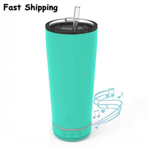 US Stock 18oz Creative Bluetooth Music Tumbler Waterproof Speaker Double Wall Thermos Stainless Steel Portable Coffee Cup New Year Gifts