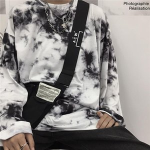ins autumn Korean version of the gradient tie dyed loose T shirt street personality Harajuku style round neck long sleeve bottom