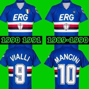 1989 1990 90 91 SAMPDORIA MANCINI Vialli Home Soccer Jersey 1990 1991 Maglie da Calcio 89 90 Sampdoria Retro Vintage Clássico Camisa