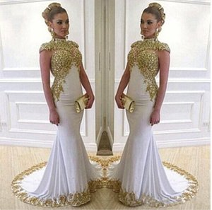 Luxury Dubai Arabic White And Gold Evening Dresses High Neck Cap Sleeve Appliques Lace Beads Crystals Long Prom Party Dress Formal Gown 2021