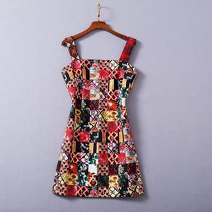 1112 2020 frete grátis Outono A Linha Long Sleeve Spaghetti Strap vestido roxo Prom Moda Flora Imprimir Apricot Painéis Marca SH Estilo Same