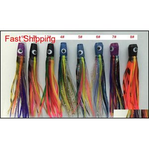 6 Inch Soft Octopus Skirt Bait Fishing Lure Fishing Tackle Game Lure Tuna Lures Soft Head Sea Trolling Fishing Lure qylilx yh_pack
