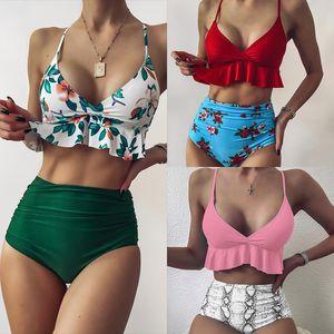 2020 New Ruffle High Taille Bikini Sexy Badeanzug 2VFC