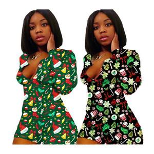 Мода рождественские женские комбинезоны с длинным рукавом Rompers шорты Санта-Клаус снеговик осень зима один кусок oneyies ussusit s-3xl f111805