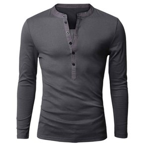 Wholesale- Unique T shirt Men Single Breasted V Neck Long Sleeve Henley Shirt European Fashion Dark Gray Tee Shirt Men T-shirt XXL
