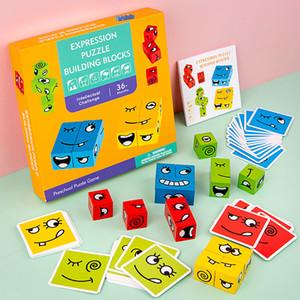 Деревянная головоломка для детей выражение головоломки с 50 картами дошкольные головоломки игра Раннее образовательное логическое мышление игрушка подарок Q1214