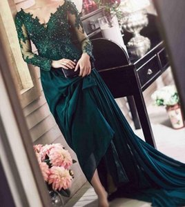 Arabic Long Sleeve Green Evening Dresses Formal Mother Of The Bride Dress A Line Prom Vestidos De Fiesta Robe De Soiree 2020