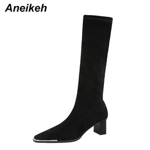 Aneikeh Zapatos De Mujer Shoes For Women Winter NEW Slip-On Knee-High Sexy Riding, Equestrian Boots Black Fashion Concise Sewing