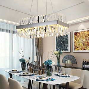 Modern Crystal Chandelier For Dining Room Rectangle Design Kitchen Island Lighting Fixtures Chrome LED Cristal Lustre