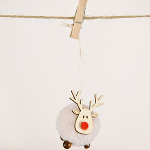 Cute Felt Wooden Elk Christmas Tree Decorations Hanging Pendant Deer Craft Ornament Christmas Decorations For Home New Year CCA2791