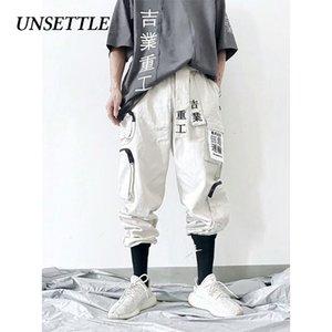 Unsattle Japão Hip Hop Jogadores Homens / Mulheres Harem Calças Multi-bolso Sweetpants Streetwear Casual Mens Cargo Calças 201166