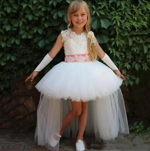 Cheap High Low Flower Girls' Dresses for Wedding Party Sleeveless Applique Tulle Sash Kids Birthday Gowns