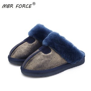 MBR FORCE Fashion Warm Women Shoes Natural Fur Slippers Home Shoes Winter Suede Slippers Woman Indoor Shoes Wool Slippers 201130