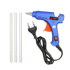20W Hot Melt Glue Gun Hot Melt Glue Machine DIY Gun with Switch Button Blue + 3Pcs 7mm Bar EU Plug1