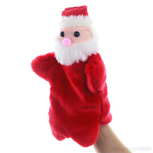 Christmas Handheld toy Cartoon Santa Claus xmas doll Baby Kid Plush Hand Puppet Toys DHA936