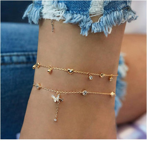 2020 Retro Star Moon Crystal Women's Anklet Statement Bohemian Multi-layer Ankle Leg Anklet Jewelry W jlllps