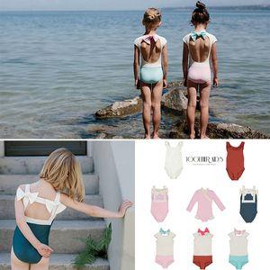 Toddler Girls Sweet Swimming Suits Baby Hawaii Clothes Kids Girls Bow Tie Swimwear Children Brand Swimsuits Cute Girl Swimwear C1223