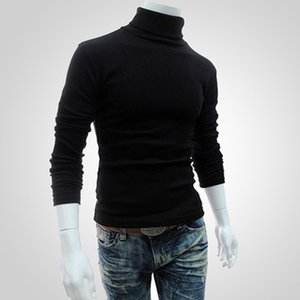 Men Bottoming Tops Fall Slim Warm Autumn Turtleneck Black Pullovers Clothing For Man Cotton Knitted Sweater Male Sweaters