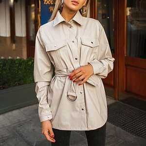 DEAT 2020 Autumn Women New Style Fashion Lapel Long Sleeve Streetwear Belt Pocket Decoration Single Breasted Leather Shirt RD485