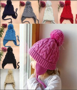 Kids Twisted Braid Knitting Hats Baby Leisure Winter Crochet Beanies Caps Children Warm Soft Pompon Cap Girl Party Hat DA037