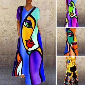 2020 Fashion Women Casual Long Dress Vintage Portrait Print High Waist Women Dresses Beach Party Holiday Elegant Loose Dress F1130