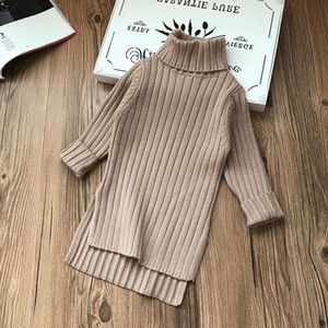 Fall Winter Turtleneck Sweater Dresses For Baby Girl Clothes Fashion Kid Warm Party Princess Frock Children Up American Knitted Dress 8