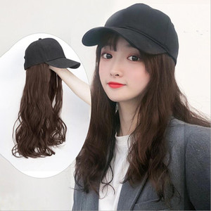 Long Synthetic Baseball Cap Wig Natural Black   Brown Straight Wigs Naturally Connect Synthetic Hat Wig Adjustable For Girls Y1130