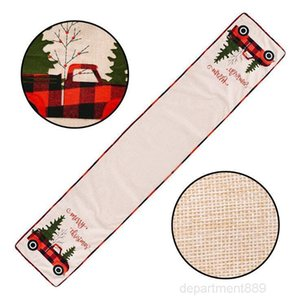 Christmas Runner Cotton Linen Cover Car Tree Flag Table Dress Tablecloth Eating Mat Xmas Decorations OWA2228