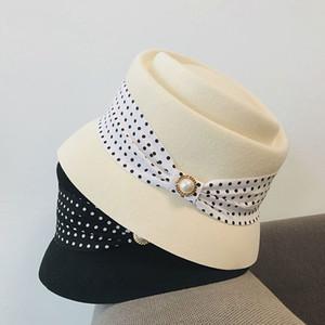 New Elegant British women's Hat black and white bow ribbon embellishment soft fabric hat with dress Blazer lady's cap wool Cap